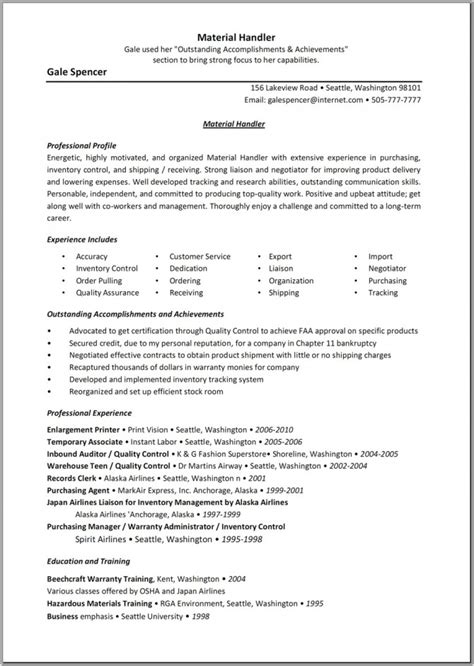 resume for material handler best letter sle