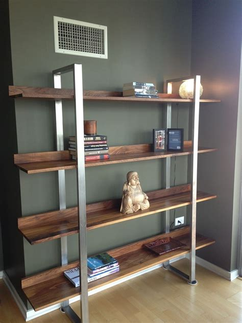 Hand Made Walnut & Stainless Steel Modern Bookcase By
