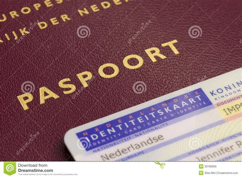 dutch passport  id card royalty  stock image