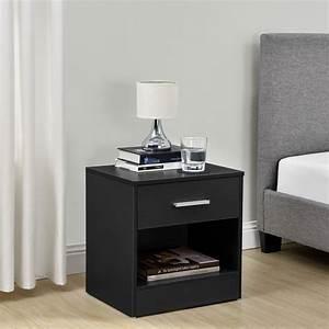 Casa Table De Chevet : table de chevet tiroir noir commode table d 39 appoint rangement ebay ~ Teatrodelosmanantiales.com Idées de Décoration