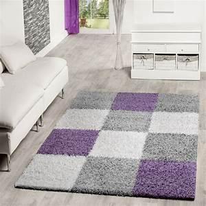 Teppich Grau Lila : moderner hochflor teppich karo muster shaggy zottel teppiche lila grau creme ebay ~ Indierocktalk.com Haus und Dekorationen