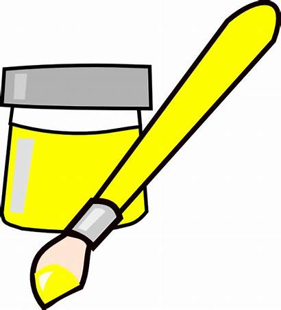 Paint Clipart Brush Clip Cliparts Yellow Bucket