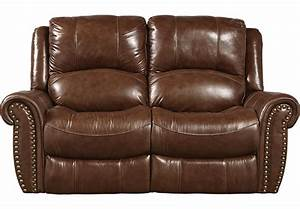 Abruzzo Brown Leather Reclining Loveseat - Leather