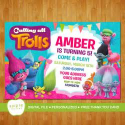 Trolls Invitation, Trolls Party, Trolls Birthday, Trolls, Trolls Birthday Invitation, FREE Thank you Card!