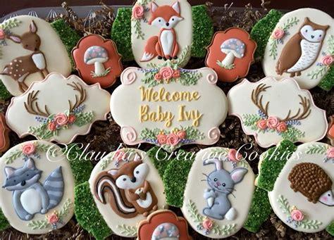woodland baby shower cookies claudias creative