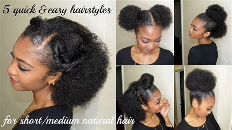 5 quick easy hairstyles for short medium natural hair