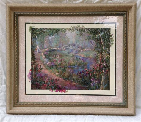 Home Interiors Kinkade Prints by Large Homco Home Interiors Framed Beautiful Floral