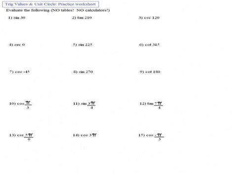 Solving Trigonometric Equations Worksheet Homeschooldressagecom