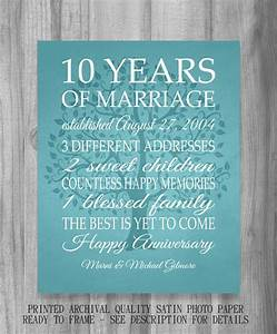 10 year anniversary gift print wedding anniversary With 10 year wedding anniversary gifts for her