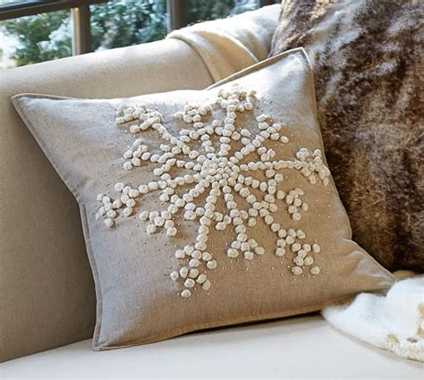 pottery barn large decorative pillows knotted snowflake embroidered pillow cover pottery barn