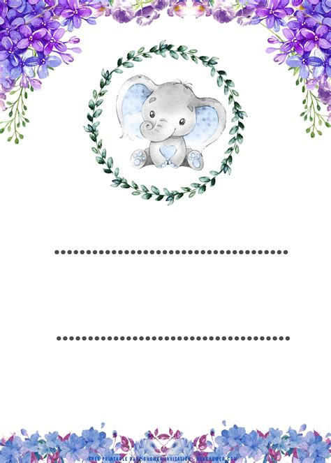 printable cute baby elephant baby shower