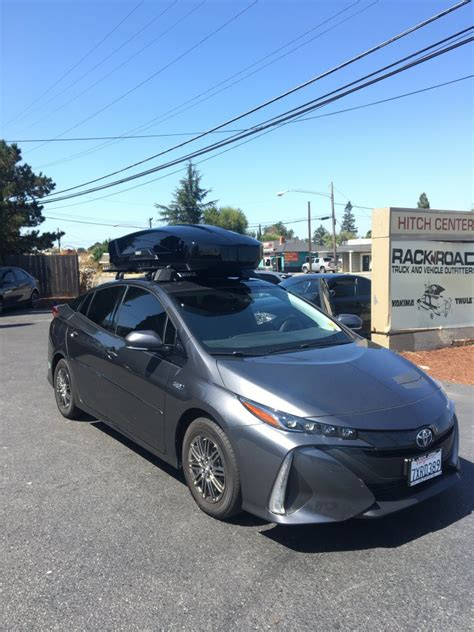 prius roof rack prius prime with thule roof rack and thule motion xt cargo