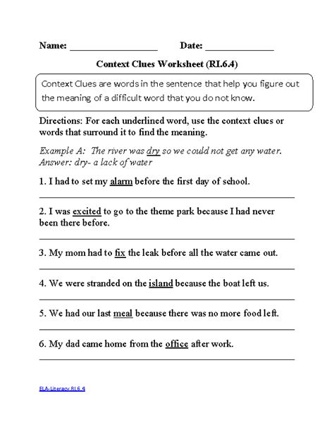 6th grade common reading informational text worksheets