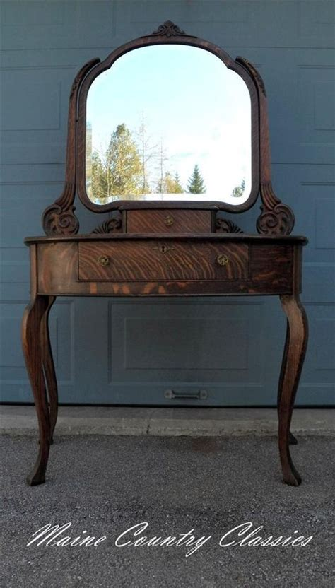 antique quartersawn tiger oak vanity  beveled mirror