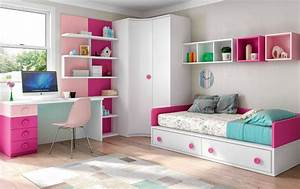 Chambre enfant fille bicolore fun et pratique glicerio for Deco chambre enfant avec sommier et matelas memoire de forme 160x200