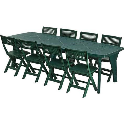 chaise salon de jardin salon de jardin en pvc vert 8 personnes ensemble table et