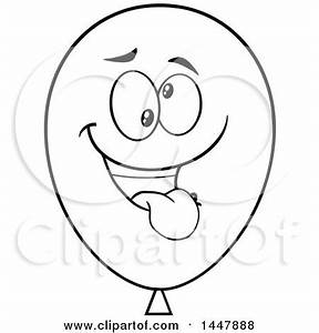 Clipart of a Cartoon Goofy Black and White Lineart Party ...