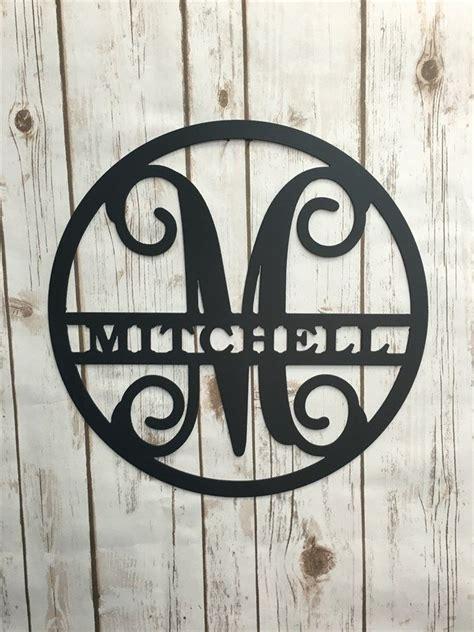 circle vine monogram initial  family  personalized metal signs vine monogram