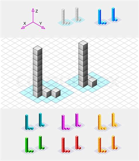 Isometric Font From The Cubesletter L Vector Stock