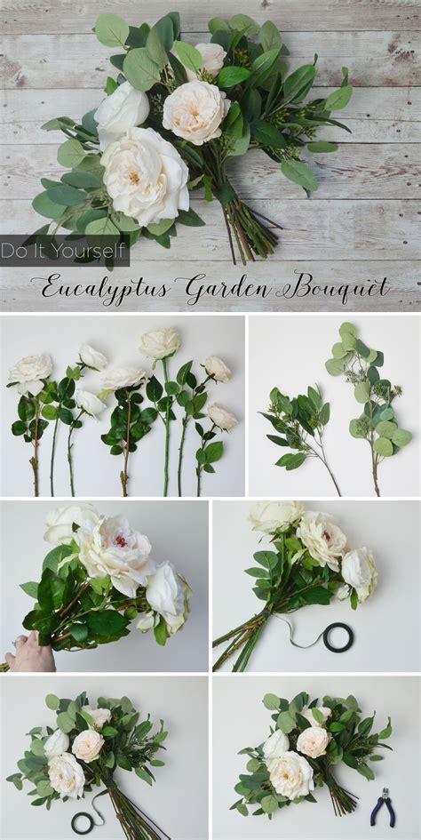 diy eucalyptus bouquet   creative wedding