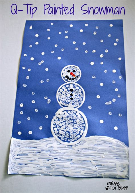 winter preschool crafts q tip painted snowman craft mess for less 867