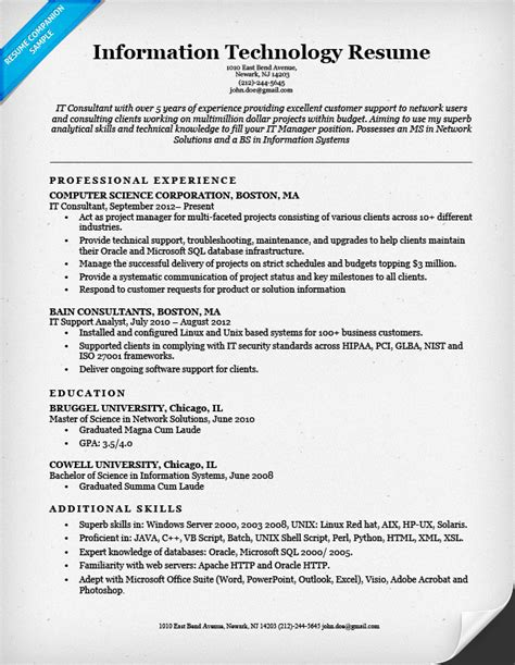 Resumes For It by Information Technology It Resume Sle Resume Companion