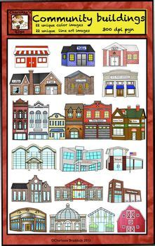 community helpers buildings clip art  city  country