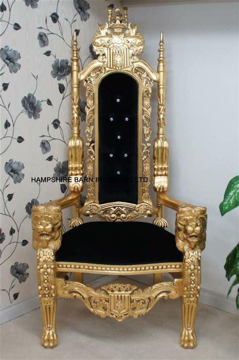 ornate large lion king throne chair gold black velvet home stage event dining ebay