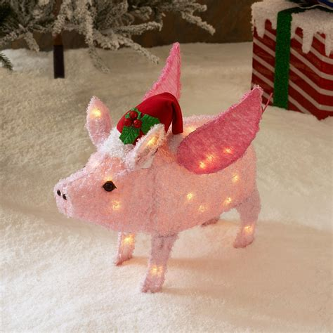 pink flying pig outside christmas decoration light up pig decoration www indiepedia org