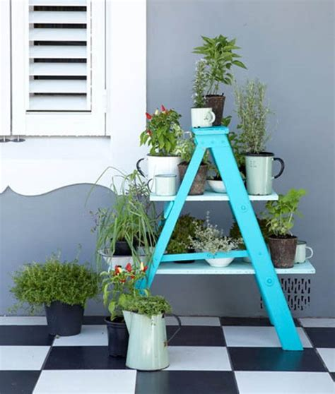 Decorating Ideas With Old Ladders by Outdoor Garden Decorations Made Of Old Wooden Ladders