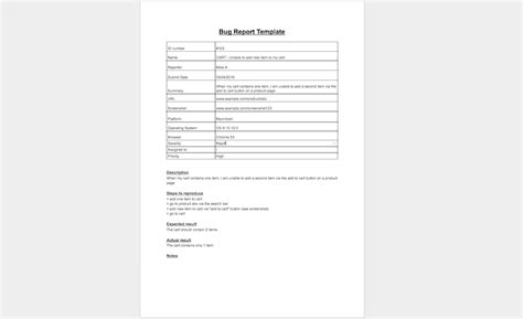 bug report form template 9 bug report template exles software testing workflows