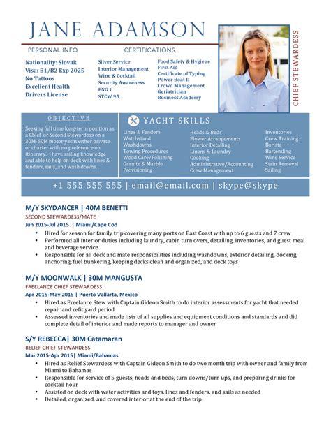 yacht stewardess resume yacht resume