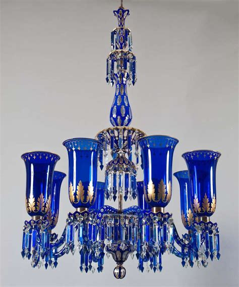 important blue glass chandelier and pair of matching wall