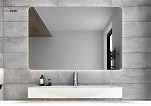 Specchiera Led Per Bagno 120x80 Cm Design Stondato Con