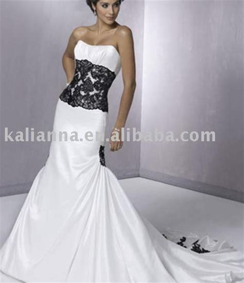 aliexpress buy a line with waistband black and white lace satin bridal dress wedding
