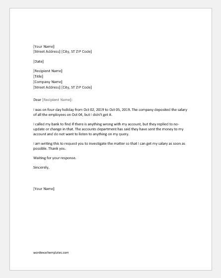 salary  received complaint letter  boss word