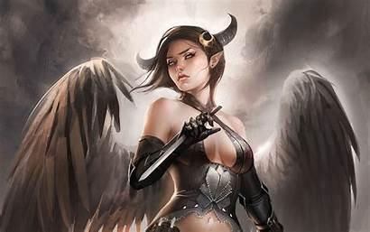 Devil Angel Demon Wallpapers Woman Dark Wallpaperplay