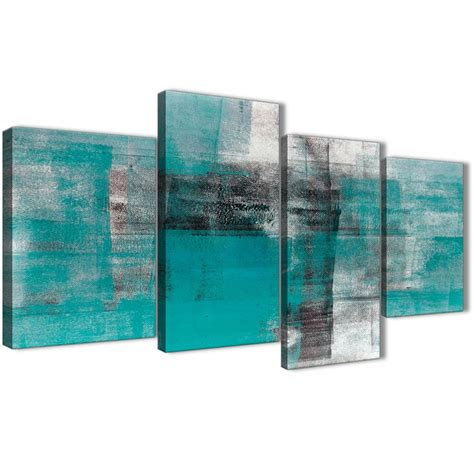 Black And White Abstract Uk large teal black white painting abstract bedroom canvas