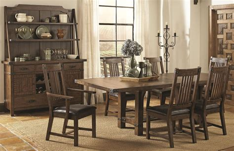 Rustic Dining Set by Padima Rustic Sawn Rectangular Extendable Dining