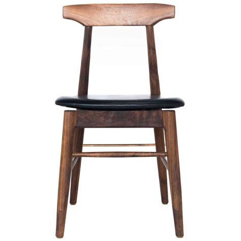 walnut and black leather dining chair for sale at