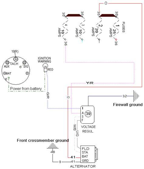 Indicator Light Wiring Diagram by Late Alternator Wiring With Dash Indicator
