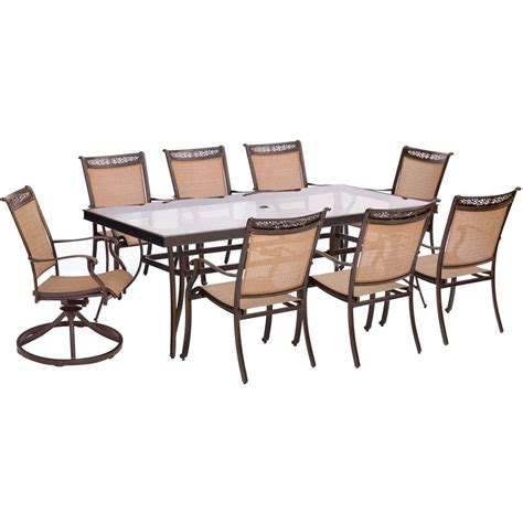 hanover 9 outdoor dining set with square cast top