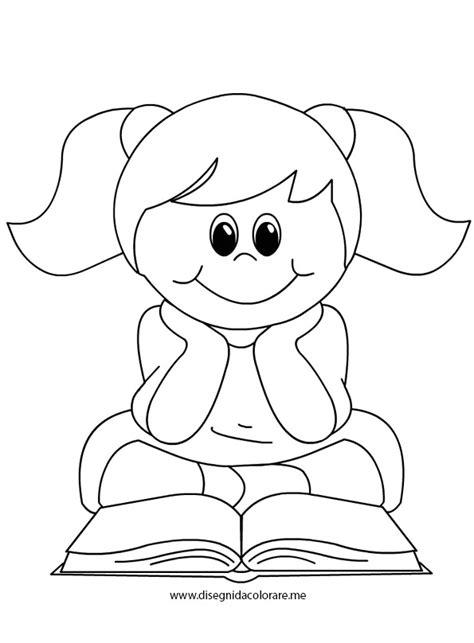 disegno stilizzato bambina con palloncino bambina che legge un libro disegni da colorare con