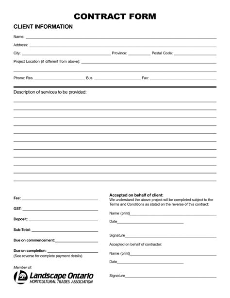 Nice Sample of Printable Blank Contract Template with Client Information and Description of