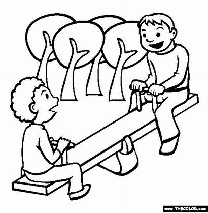 Playground Coloring Clipart Pages Gym Jungle Recess