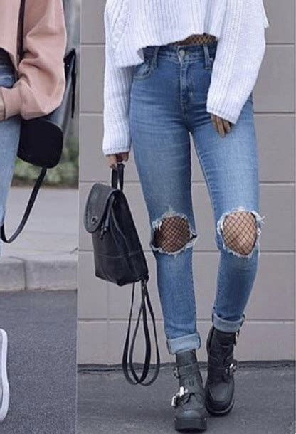 Jeans girly blue jeans tumblr fashion outfit - Wheretoget