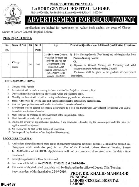 Charge Nurse Jobs In Lahore General Hospital, Lahore