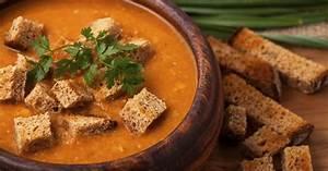 recette soupe de lentilles corail et ses croûtons de