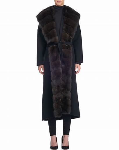 Fur Sable Teso Giuliana Coat Blend Wool