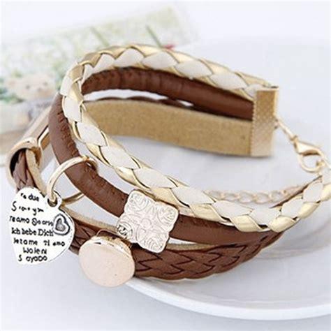 bracelet en cuir marron femme pas cher